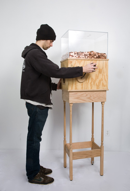 man using minimum wage machine